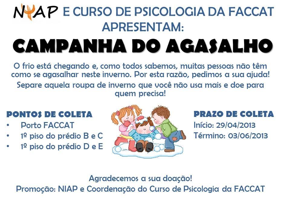 E CURSO DE PSICOLOGIA DA FACCAT APRESENTAM