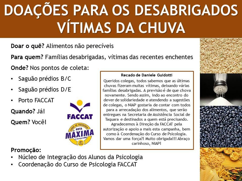 DOAÇÕES PARA OS DESABRIGADOS DAS CHUVAS