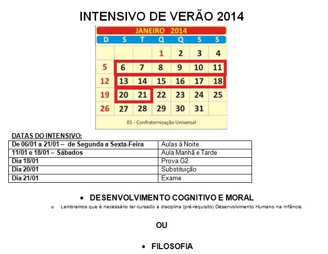 Intensivo verão 2014 informações