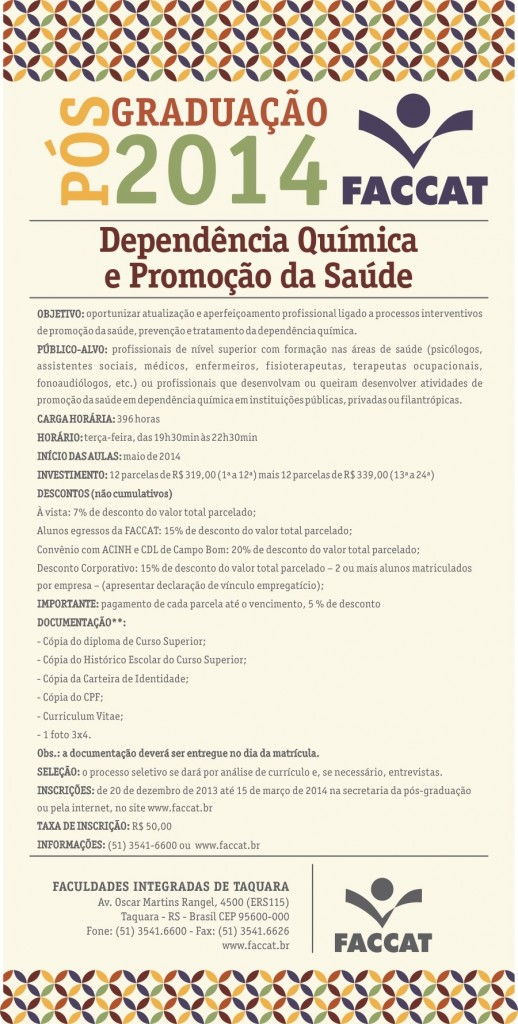 Folder Pós 2014 - Dependência Química e Promoção da Saúde (Custom)