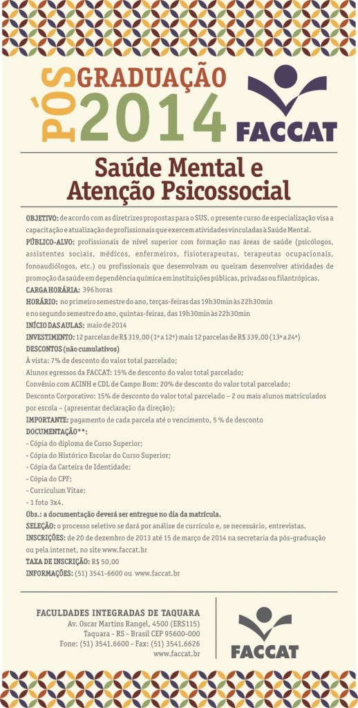 Folder Pós 2014 - Saúde Mental e Atenção Psicossocial (Custom)